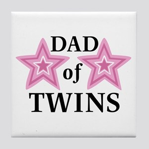 Dad of Twins (Girls) Tile Coaster