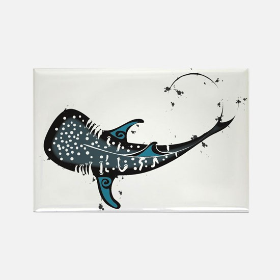 Whale shark Black and Blue Rectangle Magnet