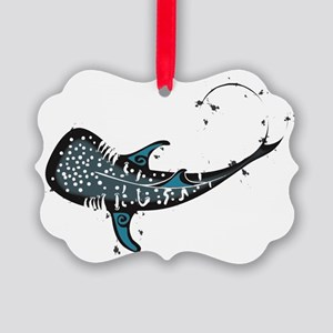 Whale shark Black and Blue Picture Ornament