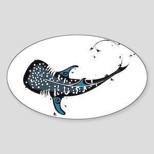 Whale shark Black and Blue Sticker (Oval)