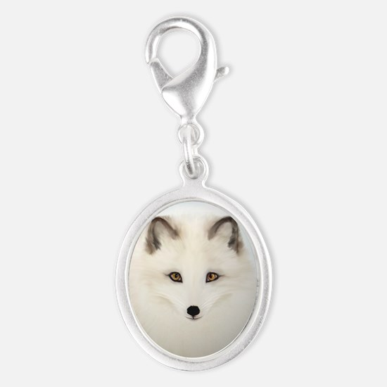 Arctic Fox with Blue Background Silver Oval Charm