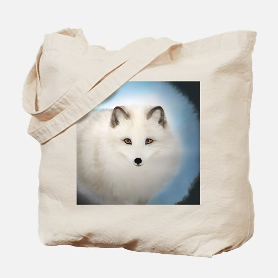Arctic Fox with Blue Background Tote Bag