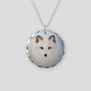 Arctic Fox with Blue Backgro Necklace Circle Charm