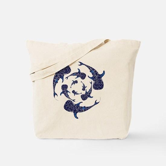 Whale Sahrk Blue Spiral Tote Bag