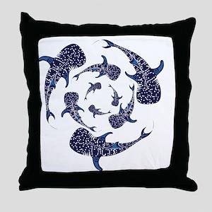 Whale Sahrk Blue Spiral Throw Pillow