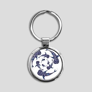 Whale Sahrk Blue Spiral Round Keychain
