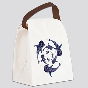 Whale Sahrk Blue Spiral Canvas Lunch Bag