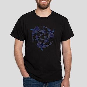 Whale Sahrk Blue Spiral Dark T-Shirt