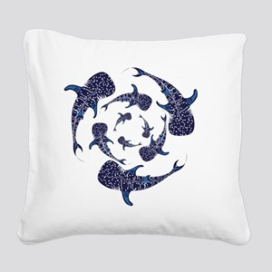 Whale Sahrk Blue Spiral Square Canvas Pillow