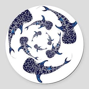 Whale Sahrk Blue Spiral Round Car Magnet