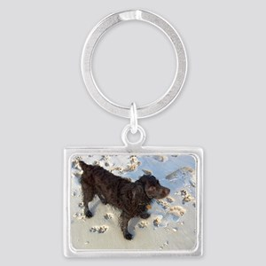 Scully with Pawprints Landscape Keychain