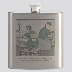 Surgeon going through wallet Flask