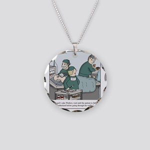 Surgeon going through wallet Necklace Circle Charm