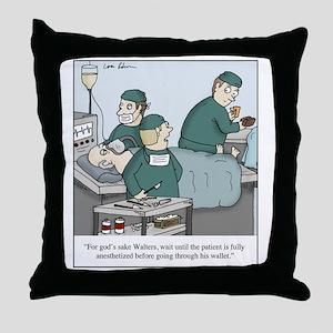 Surgeon going through wallet Throw Pillow
