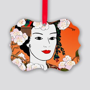 Geisha and Sakura 02 for laptop s Picture Ornament