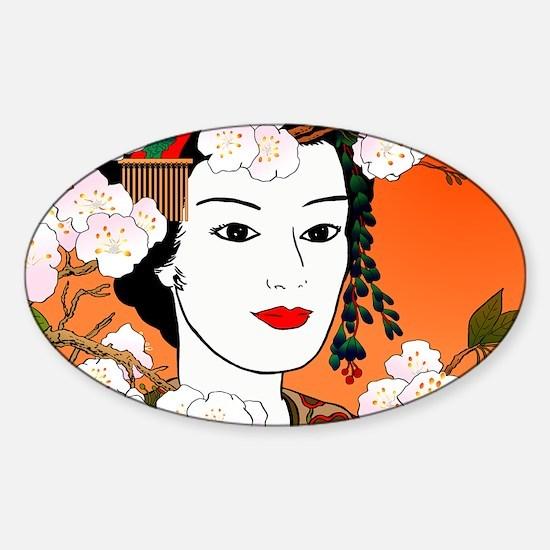 Geisha and Sakura 02 for laptop ski Sticker (Oval)