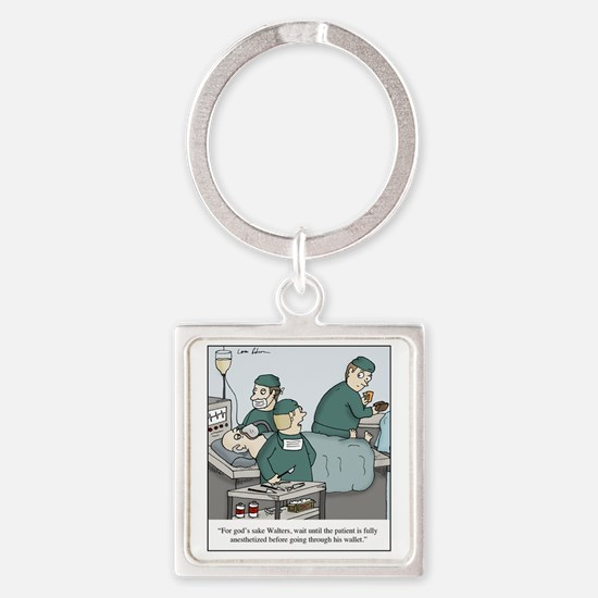 Surgeon going through wallet Square Keychain