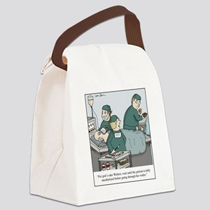 Surgeon going through wallet Canvas Lunch Bag