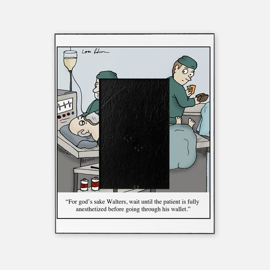 Surgeon going through wallet Picture Frame