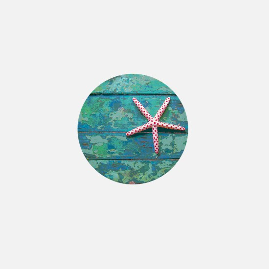 Starfish and Turquoise Rustic Mini Button