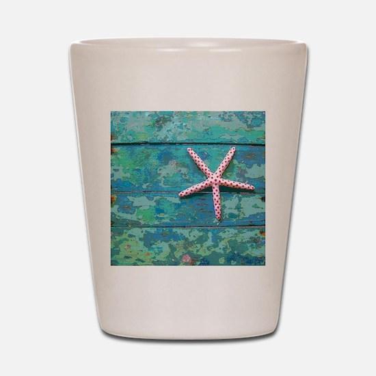 Starfish and Turquoise Rustic Shot Glass