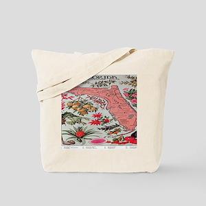 Vintage Florida Fruit Flower Map Tote Bag