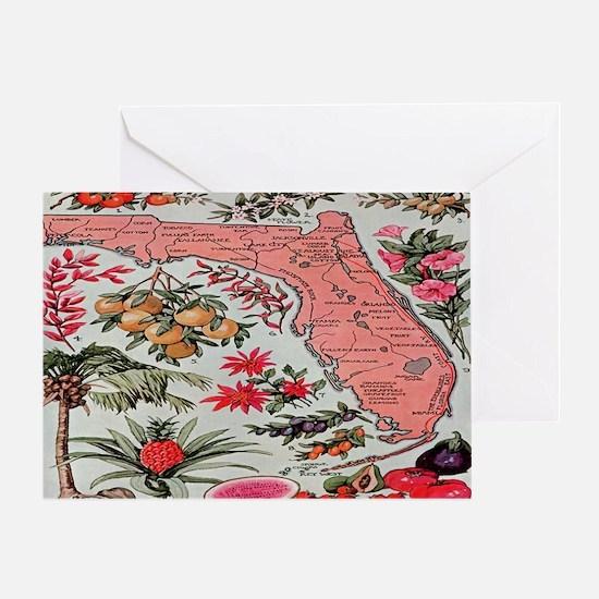 Vintage Florida Fruit Flower Map Greeting Card