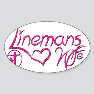 Linemans Wife Tag Sticker (Oval)