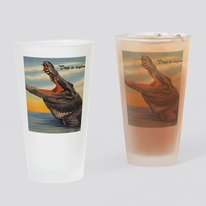 Vintage Alligator Postcard Drinking Glass