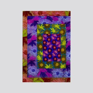 Color Collage of Layered Floral F Rectangle Magnet