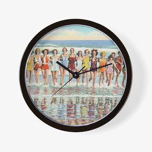 Vintage Women Running Beach Seashore Wall Clock