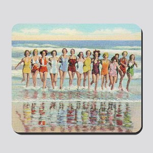 Vintage Women Running Beach Seashore Mousepad
