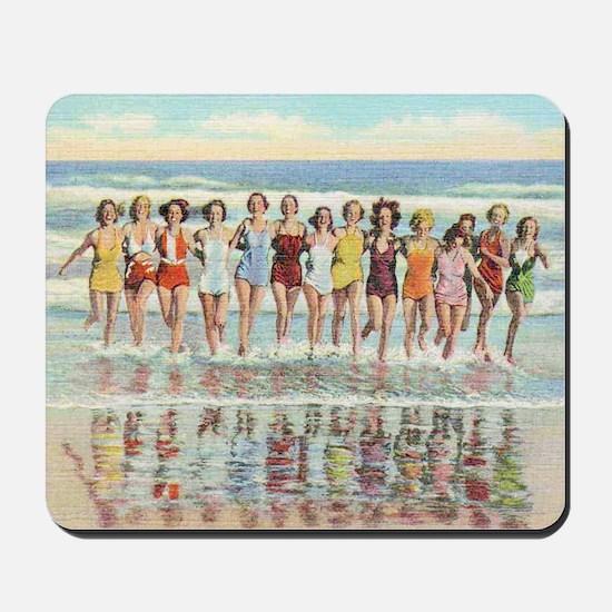 Vintage Women Running Beach Seashore Mousepad