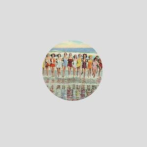 Vintage Women Running Beach Seashore Mini Button