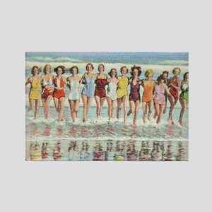 Vintage Women Running Beach Seash Rectangle Magnet