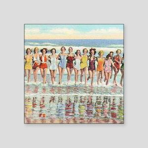 """Vintage Women Running Beach Square Sticker 3"""" x 3"""""""