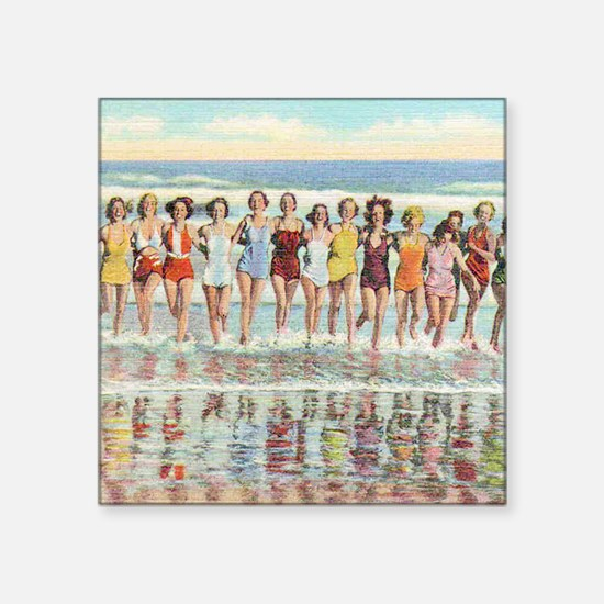"Vintage Women Running Beach Square Sticker 3"" x 3"""