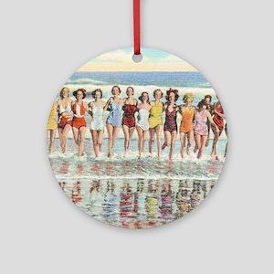 Vintage Women Running Beach Seashor Round Ornament