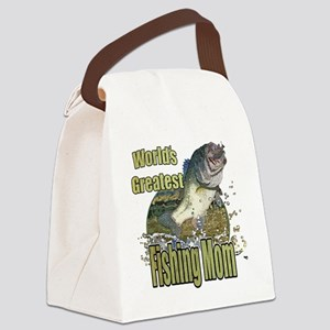 Worlds greatest fishing mom Canvas Lunch Bag