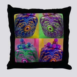 Collage of Decorative Bottles Throw Pillow