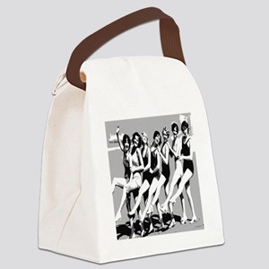 Vintage Women Beach Can Can Postc Canvas Lunch Bag