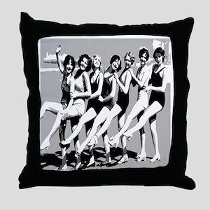 Vintage Women Beach Can Can Postcard Throw Pillow