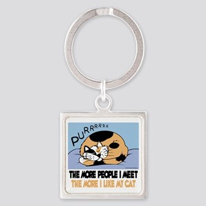 The More People I Meet Cat Square Keychain