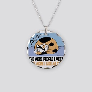 The More People I Meet Cat Necklace Circle Charm
