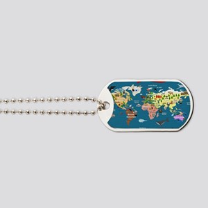 World Map For Kids - Lets Explore Dog Tags