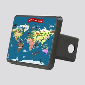 World Map For Kids - Lets  Rectangular Hitch Cover