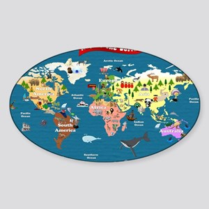 World Map For Kids - Lets Explore Sticker (Oval)