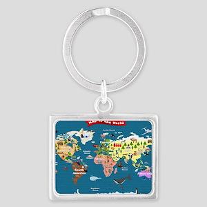 World Map For Kids - Lets Explo Landscape Keychain