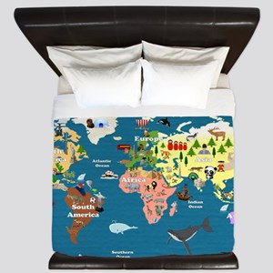 World Map For Kids - Lets Explore King Duvet