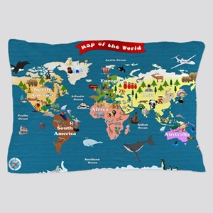 World Map For Kids - Lets Explore Pillow Case